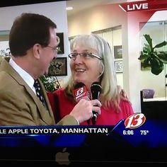 Jill Tannern a teacher from Wamegon just won a new car live on 13 News at 6!