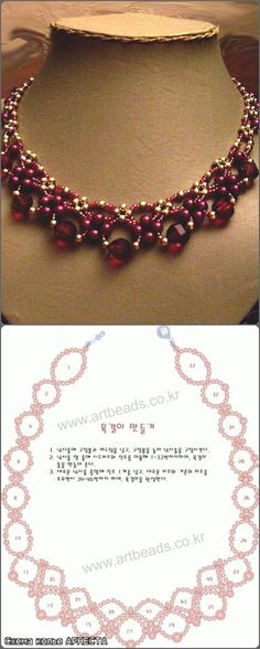 Not only to use for a collar but also nice for the finishing touch at a caftan insteas of sfiffa. Collar rosado con perlas y cristales, con su esquema Beaded Necklace Patterns, Seed Bead Patterns, Beading Patterns, Beaded Bracelets, Necklaces, Diy Jewelry Tutorials, Beading Tutorials, Jewelry Crafts, Handmade Jewelry