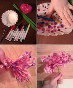 This weekends craft - coffee filter flowers! Coffee Filter Crafts, Coffee Filter Flowers, Coffee Filters, Crafts To Do, Crafts For Kids, Paper Crafts, Daycare Crafts, Preschool Crafts, Flower Crafts