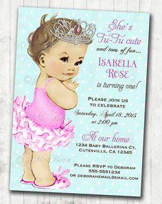 Ballerina Birthday Ballerina Invitation First by jjMcBean on Etsy