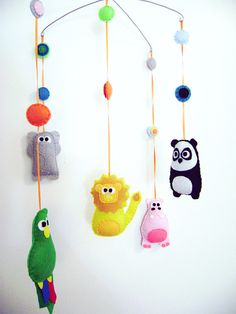 Baby mobile, felted animals