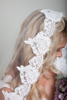 Lace mantilla veil from BlancaVeils - handmade to order and won't break the bank! Veils start at only $35.
