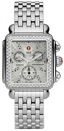 MWW06A000699  NEW MICHELE DECO CLASSIC WATCH     Discontinued usually ships within 6 months - Click Here to View Current Model - FREE Overnight Shipping - NO SALES TAX (Outside California)- WITH MANUFACTURER SERIAL NUMBERS- White Mother of Pearl Dial with Diamonds  - 120 Diamonds Set on Bezel - Chronograph Feature  - Battery Operated Quartz Movement- 3 Year Warranty- Guaranteed Authentic  - Certificate of Authenticity- Polished Steel Case