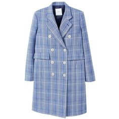 Checked Structured Coat (265 BGN) ❤ liked on Polyvore featuring outerwear, coats, jackets, own, fur-lined coats, checked coat, mango coats, blue coat and checkered coat