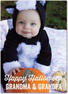 Ghostly Grin - Halloween Cards from Treat.com #trickorTREAT #costume #baby