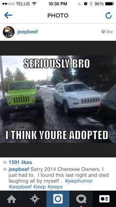 Hahahaha! It's true,what's up with the new 2014  Cherokee's.. They're creep.