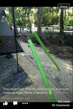 This might make a great idea for the pavilion ropes to protect those stumbling about in the dark.