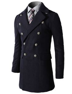 Mens Fashion Double Breasted Wool Coat with Lace Details (KMOCO031)