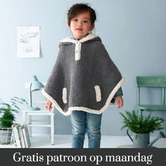 Phildar design Knitted poncho for girls. Poncho Knitting Patterns, Crochet Poncho, Loom Knitting, Knitting For Kids, Crochet For Kids, Crochet Baby, Poncho Outfit, Knit Baby Sweaters, Baby Vest