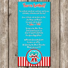 Cat in the Hat Invitation - Dr. Seuss - Cat in the Hat Birthday Party Invitation - DIY Printable on Etsy, $10.00