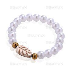 pulsera de perla brillo con bola dorado acero y hoja arbol para mujer -SSBTG924390