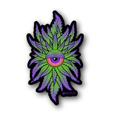 Purple Weed Cyclops Vinyl Sticker