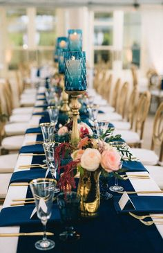 Wedding Reception Stunning luxury wedding with velvet navy table runner, gold flatware, blush and burgundy florals by Sage Nines. - We rounded up a collection of 31 jaw-dropping table runner ideas for your wedding reception. Long Table Wedding, Star Wedding, Ruby Wedding, Square Wedding Tables, Wedding Ideas, Wedding Photos, Wedding Table Decorations, Wedding Table Settings, Place Settings