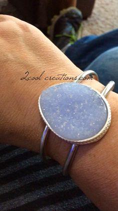 Blue Lace Agate Druzy Cuff www.2coolcreations.com