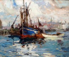 """Gloucester Harbor Seine Boat,"" Harry A. Vincent, Oil on Canvas, 25 x 30"", Rockport Art Association."