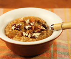 #SexyShred #SexyShredRecipes spice oatmeal, topped with nuts and raisins, on The Perfect Pantry. - for my part, I'm swapping the pumpkin for sweet potato puree and using maple syrup instead of brown sugar. Good base recipe for creative winter oatmeal ideas, though.
