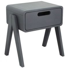 Laurette Little Robot bedside table - dark grey `One size Hand painted, finish in semi matt lacquer * Fabrics : Beech Wood * Composition : Watercolour paints * Color : Dark grey * Width : 45 cm, Depth : 34 cm, Height : 47 cm. * Weight : 9.5 kg * Details : 1  http://www.MightGet.com/january-2017-13/laurette-little-robot-bedside-table--dark-grey-one-size.asp
