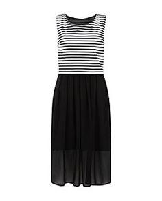 Blue Vanilla Black Stripe Print Open Back 2 In 1 Midi Dress  | New Look