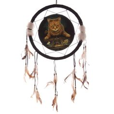 Fantasy Ginger Cat with Tarot Cards Medium Dreamcatcher 33cm The Reader - Artist Lisa Parker Dreamcatchers are a great way to add colour and design