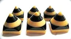 Black and Cream Celluloid Pyramid Buttons