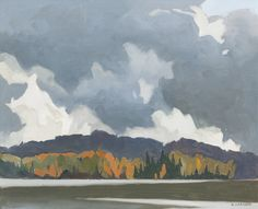 A. J. Casson (Canadian, 1898-1992), Rough Weather, Oxtongue Lake, 1977. Oil on board, 30 x 37.8 cm.