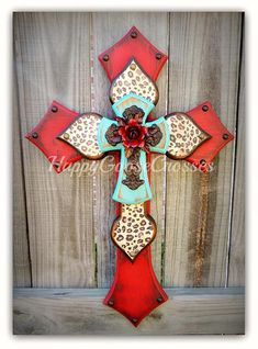 Wall CROSS - Wood Cross - Small - Antiqued Red & Turquoise, Leopard/Cheetah, with Iron Cross and Rose Painted Wooden Crosses, Wood Crosses, Decorative Crosses, Mosaic Crosses, Cross Wall Decor, Crosses Decor, Wooden Cross Crafts, Cross Door Hangers, Cross Art