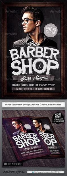 Barbershop Flyer Template — Photoshop PSD #industrykidz #salon • Available here → https://graphicriver.net/item/barbershop-flyer-template/6320104?ref=pxcr