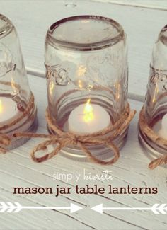 Dress up your holiday table with quick and easy Mason Jar Table Lanterns. | home decor | Ball Jar