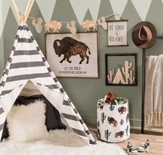 This wild and free space is sure to bring out the adventurer in your little one! Link in bio. Room Themes, Nursery Themes, Nursery Room, Nursery Ideas, Aztec Nursery, Baby Boy Rooms, Baby Boy Nurseries, Little Boys Rooms, Chambre Nolan