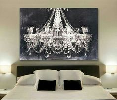 Buy Canvas Wall Art Glam Chandelier Black And White Graphic in Chandelier Wall Art Chandelier Picture, Chandelier Art, Black Chandelier, Pictures Above Bed, Cool Chandeliers, My Room, Room Mom, Decoration, All Modern