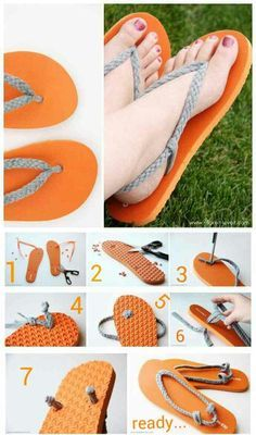 Reciclar zapatos siempre me gusta … joybobo: diy: flip-flop refashion. I always like to recycle shoes Flip Flops Diy, Flip Flop Craft, Decorate Flip Flops, Crochet Flip Flops, Crochet Shoes, Crochet Slippers, Sewing Slippers, Crochet Sandals, Diy Tresses