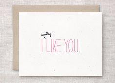 Valentine Card - Cute Anniversary Card, Ecofriendly Card - I Like You by HappyDappyBits on Etsy