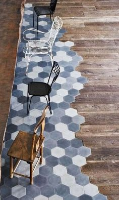 Great combination of tiles & wood Handmade tiles can be colour coordinated and customized re. shape, texture, pattern, etc.