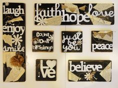 Hand Painted Wood Tiles Grouping by KLKDesignsLLC on Etsy