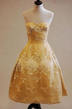 A Carven couture whitework embroidered organza evening gown, circa 1955-7