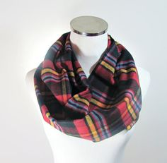 Blue Infinity Scarf Red Blue Plaid Infinity Scarf by ScarfTempo