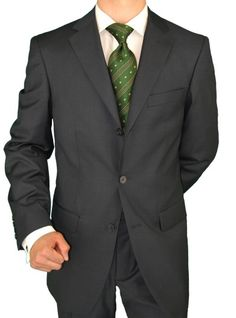 Giorgio Napoli Men's Three Button Jacket Pleated Pants Charcoal Suit Grey
