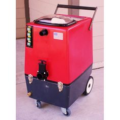 Carpet Cleaning Machine 45 liters solution and recovery tank capacities. White tank and motor housing interior. Stainless steel rear handle facilitates ease of machine movement and serves as a cord wrap. visit:- http://www.steam-brite.com/carpet-cleaning-machine-extractor-dual-2stage-vacs-100psi-p-4573.html
