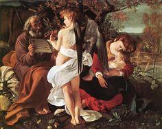 CARAVAGGIO, Italian Baroque Era (ca.1571-1610)_Rest on Flight to Egypt 1596-97