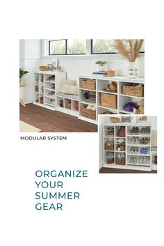 Make the most of your summer without cluttering your house. Learn seven ways to organize your summer gear in our latest blog post. Featured: Modular Closet #HomeOrganization #Summer #EntrywayIdeas Modular Closets, Family Organizer, Mudroom, Home Organization, Clutter, Gears, Bookcase, Entryway, Shelves