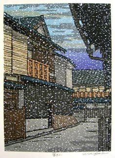 NISHIJIMA,Katsuyuki [It looks like snow] image size:27.3x19.7cm,Woodblock