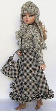 Autumn Plaid Dress w/fringed hem, Matching Purse, Hand-knit Sweater and Hat, by ssdesigns 09/2012