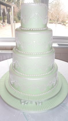 Edible lace mint green wedding cake :)