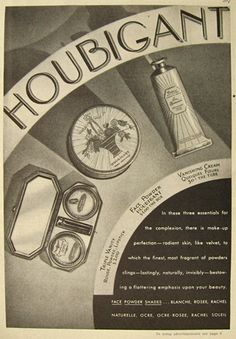 1930 Houbigant Cosmetics Ad ~ Face Powder, Cream, Vanity