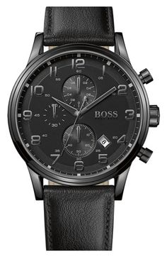BOSS HUGO BOSS Leather Strap Chronograph Watch, 44mm available at #Nordstrom
