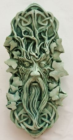 Bedwyr Green Man sculpture, hand made in my studio in Wales.