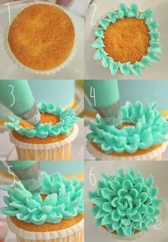 DIY Cupcake Decoration - Learn how to make a beautiful flower decoration on your cupcakes with beautiful illustrations. It makes cake decorating look easy! Frost Cupcakes, Cupcakes Flores, Deco Cupcake, Cookies Cupcake, Cute Cupcakes, Petal Cupcakes, Birthday Cupcakes, Spring Cupcakes, Floral Cupcakes