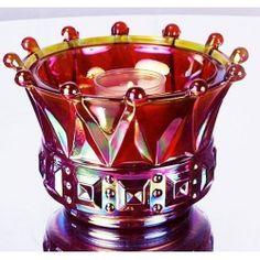 3 1/2 Windsor Crown Candle Bowl - Ruby Iridized $45.00