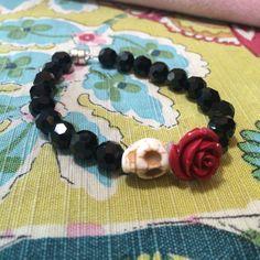 Black crystal Dia de Los Muertos bracelet with magnet clasp.