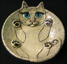 Love this - combines my love of cats and love of raku pottery .  Raku Fat Cat #1 by Becky Dennis #catart